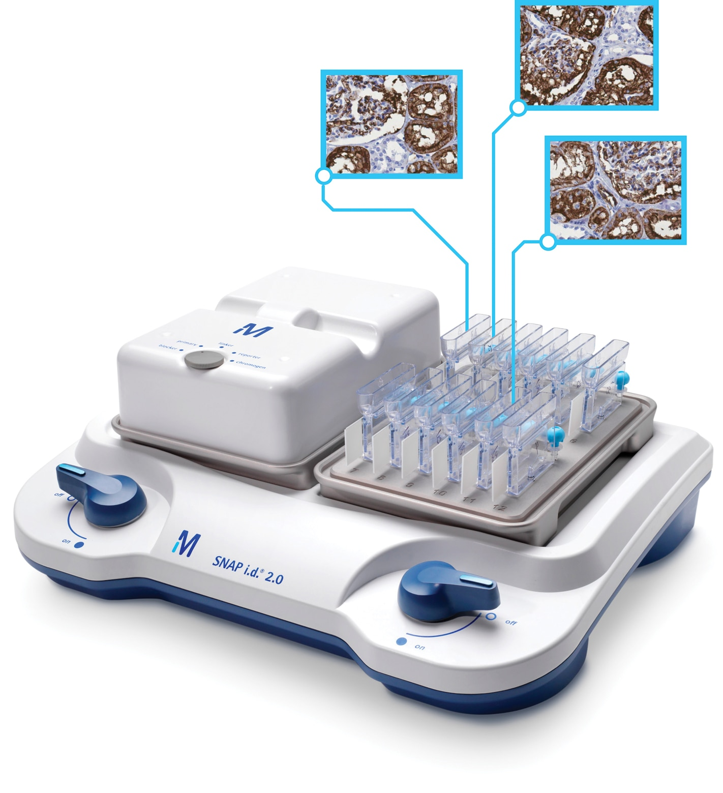 SNAP i.d.® 2.0 protein detection system for immunohistochemistry enables simultaneous, vacuum-driven processing of multiple IHC slides.