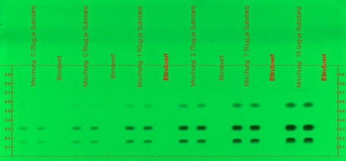 Merck:/Freestyle/LE-Lab-Essentials/Chromatography/LE-UV-active compounds on a TLC-MS plate before extraction-700x326-06062016.jpg